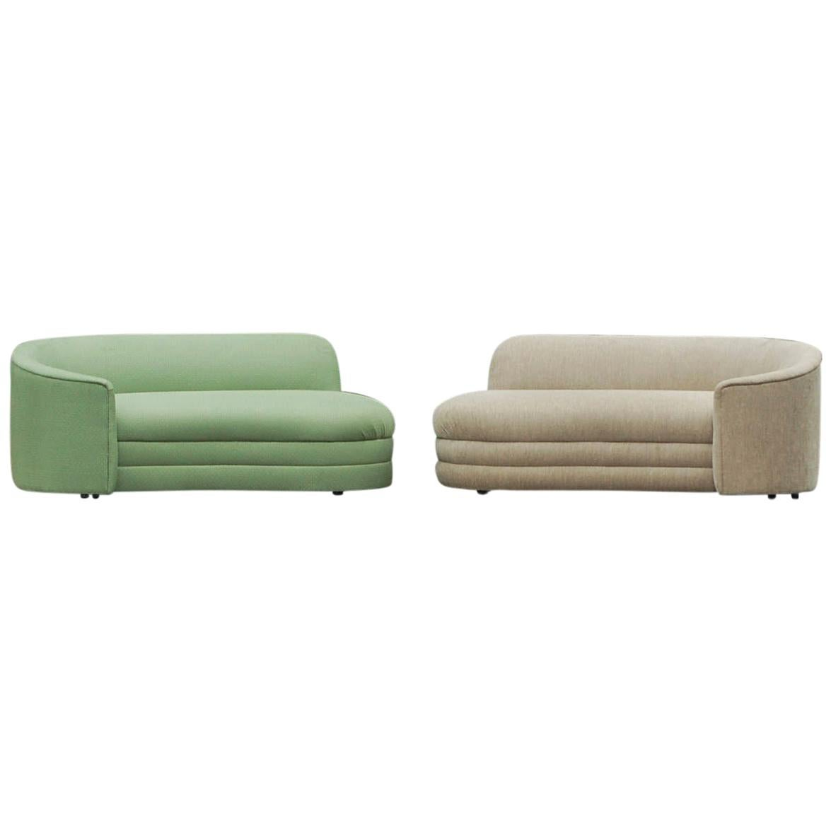 pair of asymmetrical mid century modern chaise lounge sofas in art deco form