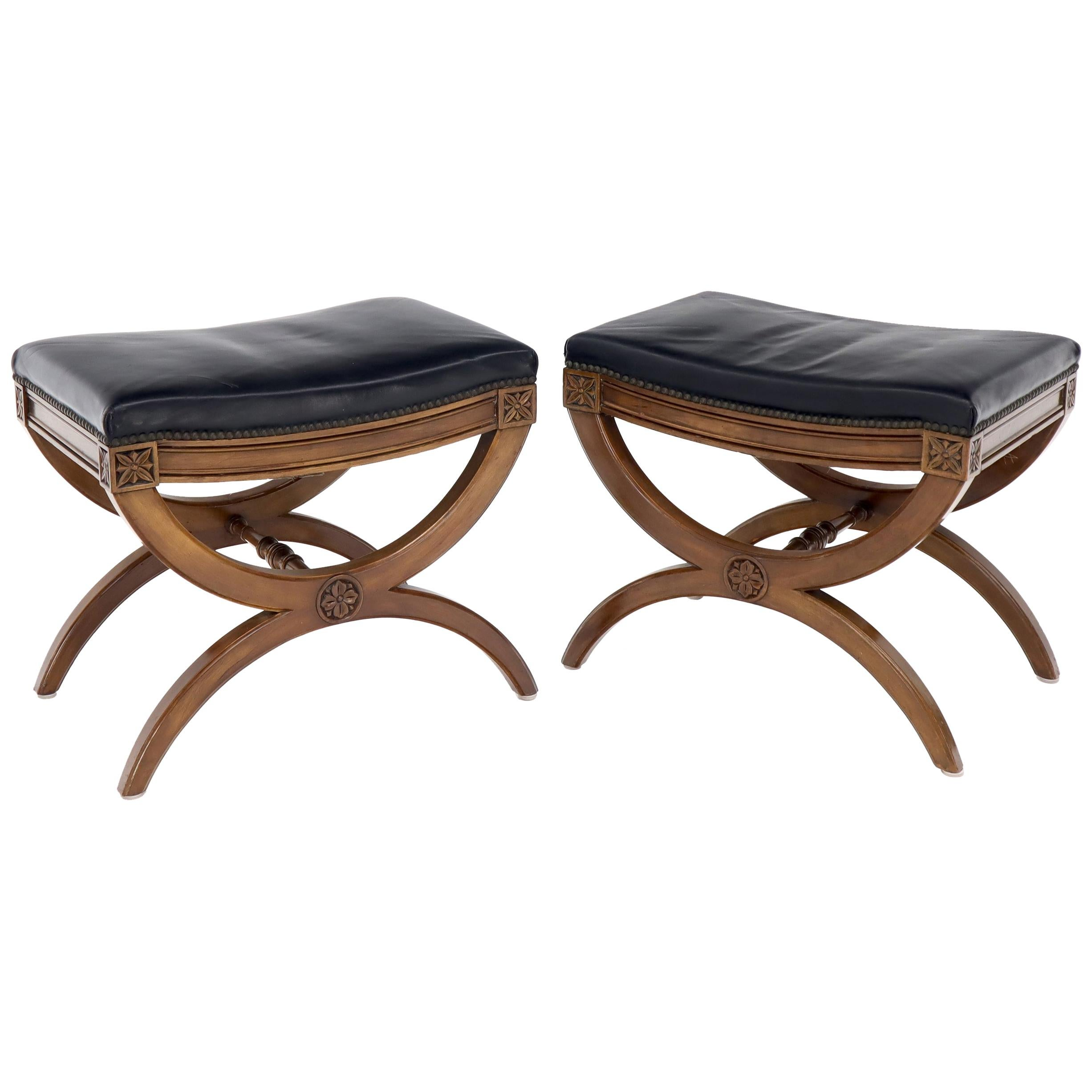 pair of black leather x bases benches ottomans foot stools by kindel