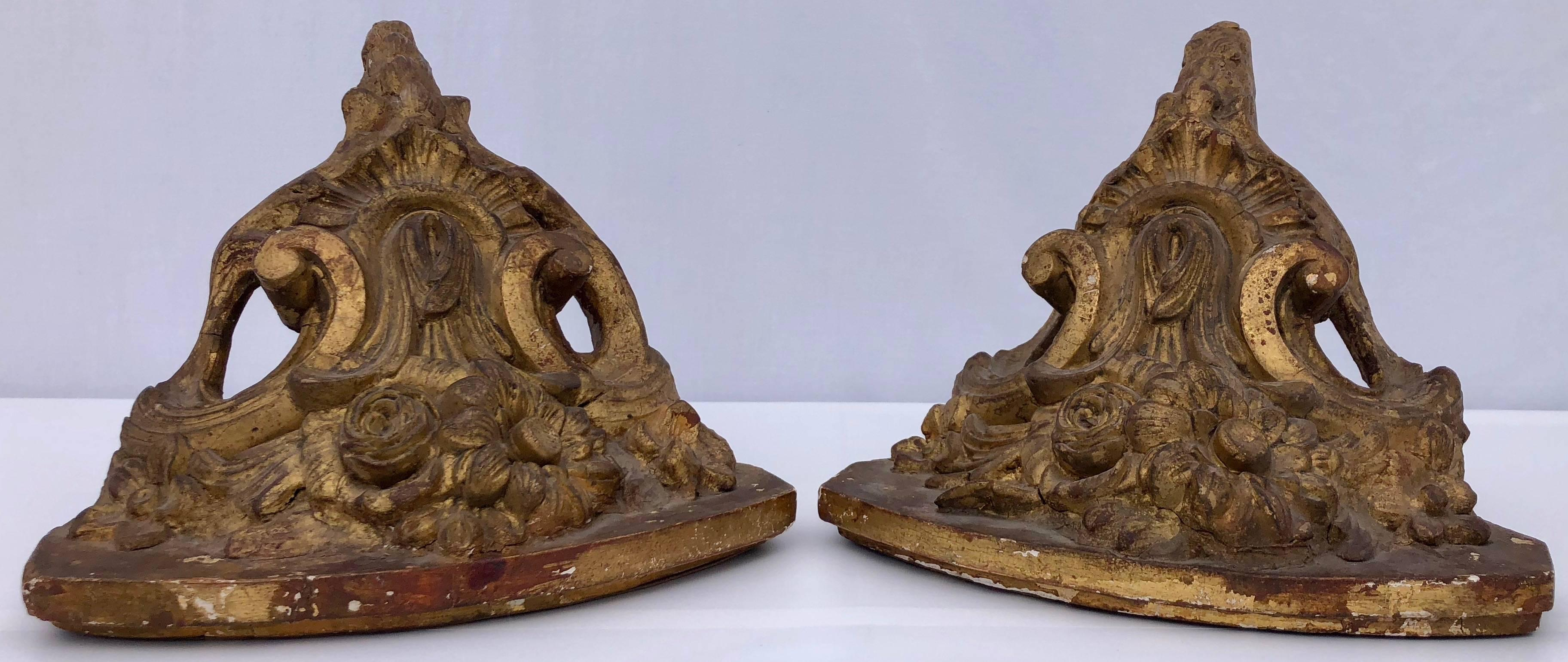 Pair of French Gilded Corner Wall Sconces, Cast Plaster ... on Corner Sconce Shelf Cabinet id=99618