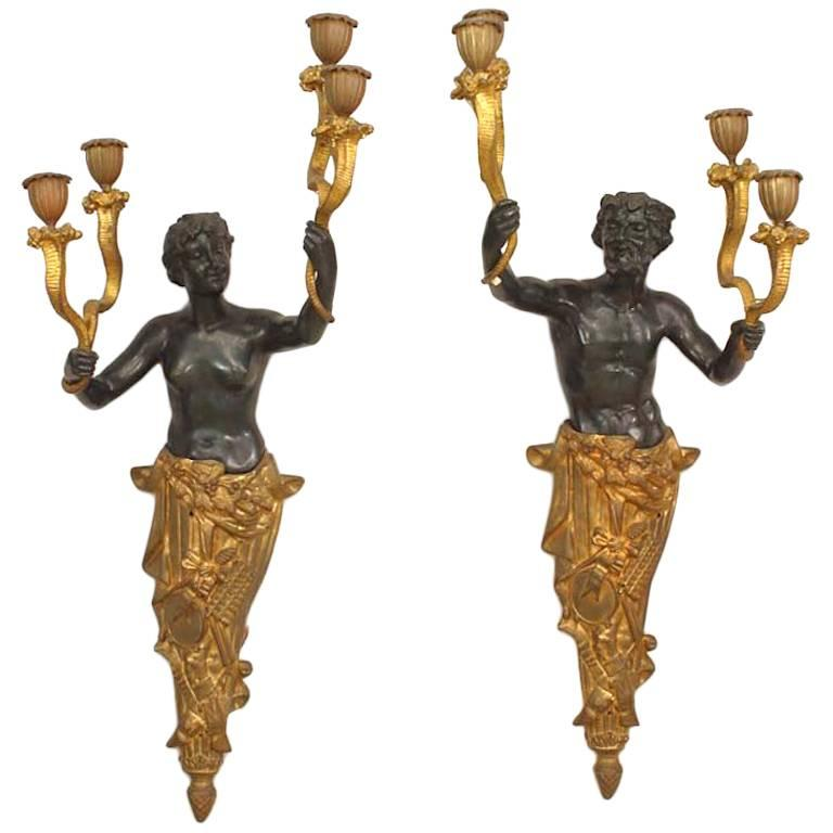 Pair of French Victorian Bronze and Gilt Wall Sconces For ... on Victorian Wall Sconces id=69646