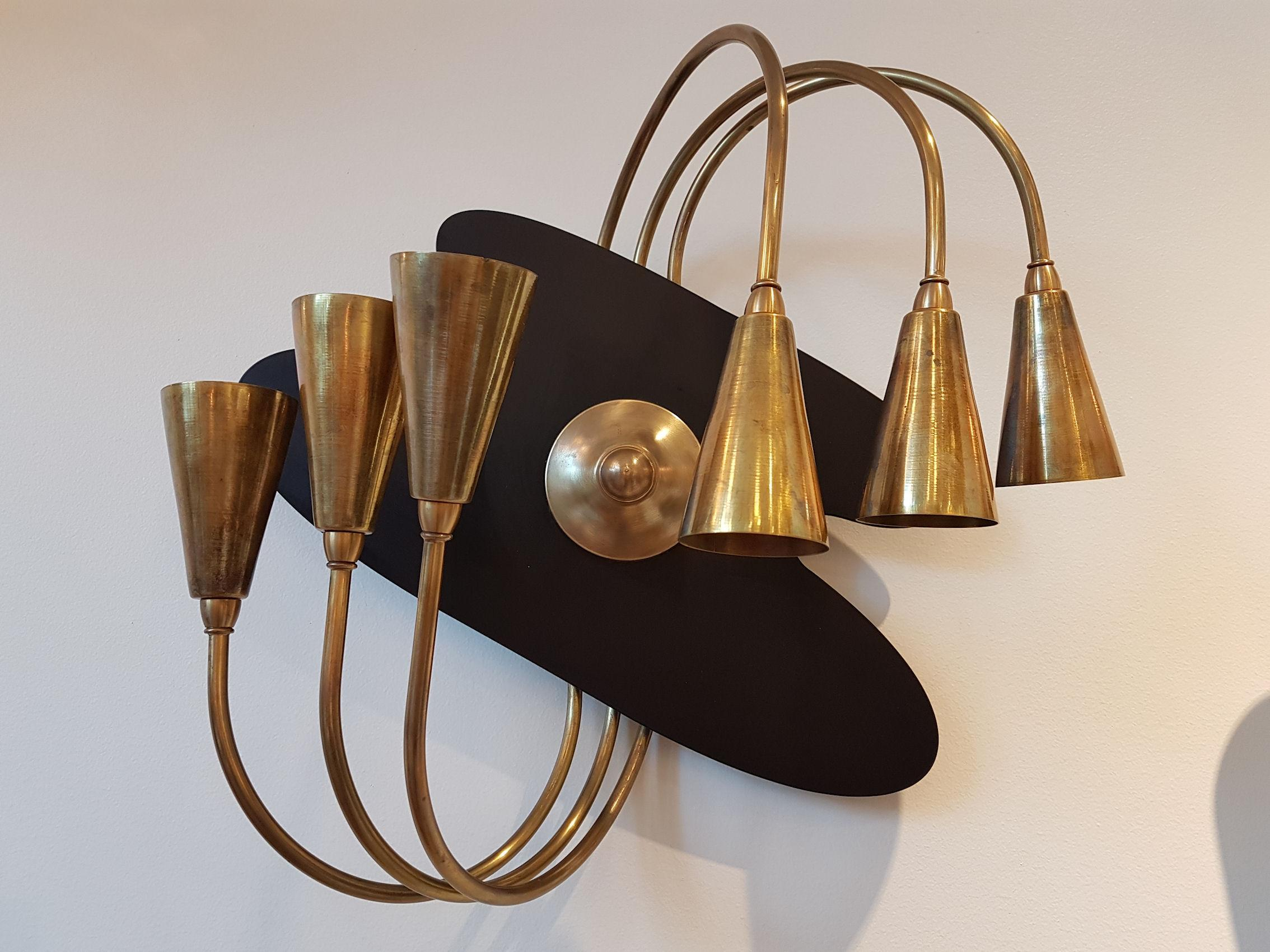 Pair of Large Brass Mid-Century Modern Wall Sconces ... on Mid Century Modern Sconces id=20457