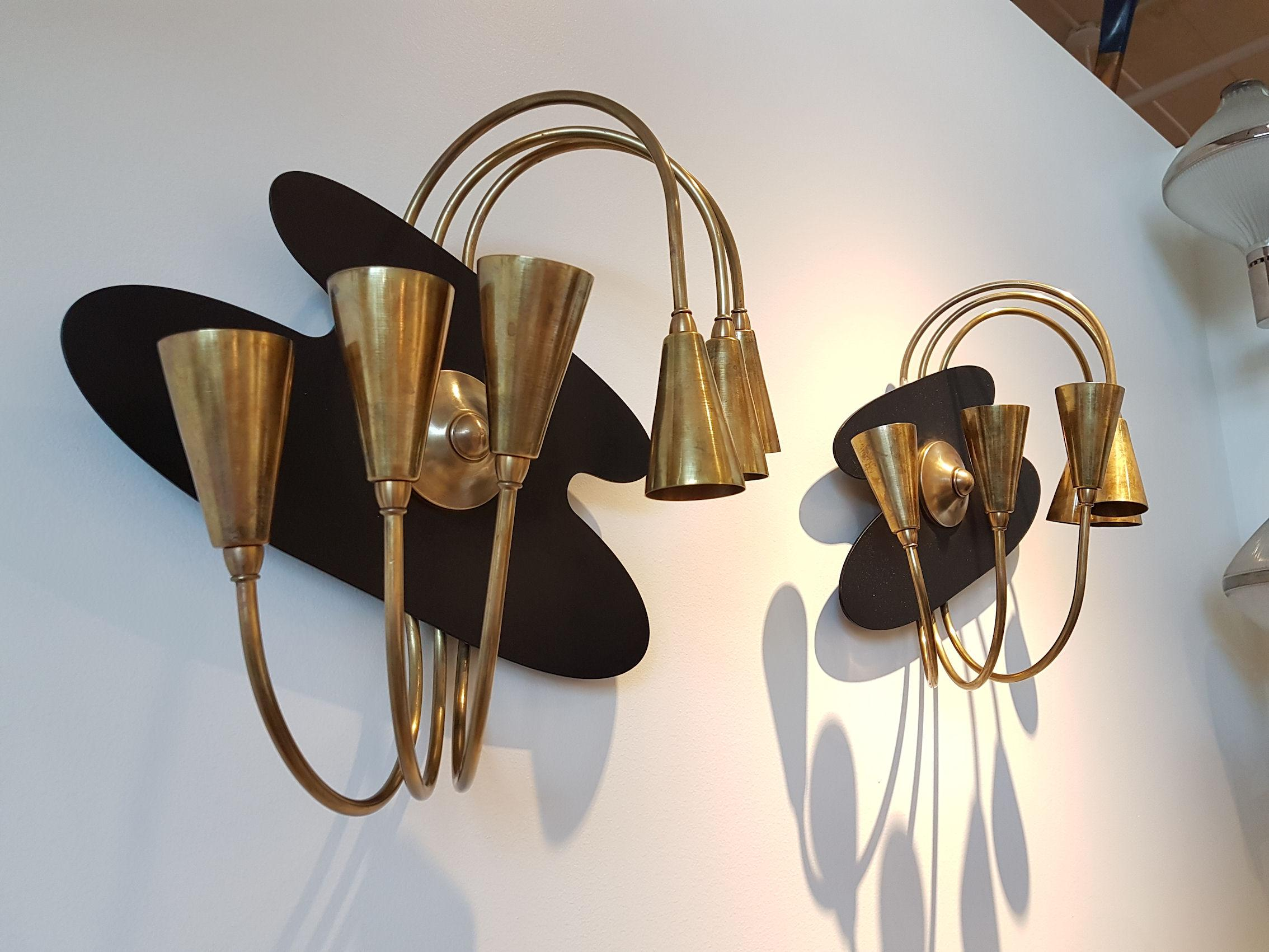 Pair of Large Brass Mid-Century Modern Wall Sconces ... on Mid Century Modern Sconces id=94164