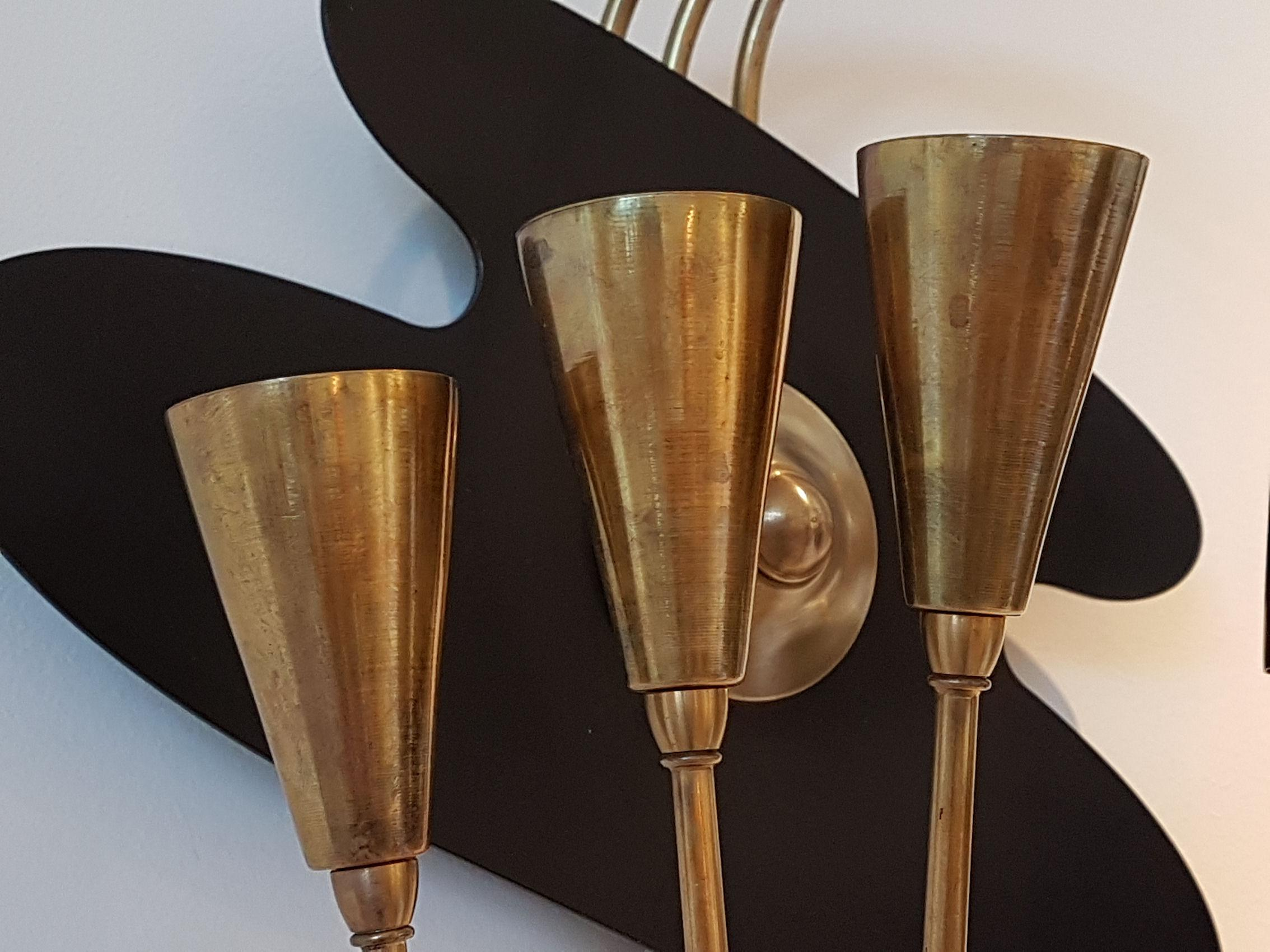 Pair of Large Brass Mid-Century Modern Wall Sconces ... on Mid Century Modern Sconces id=85604