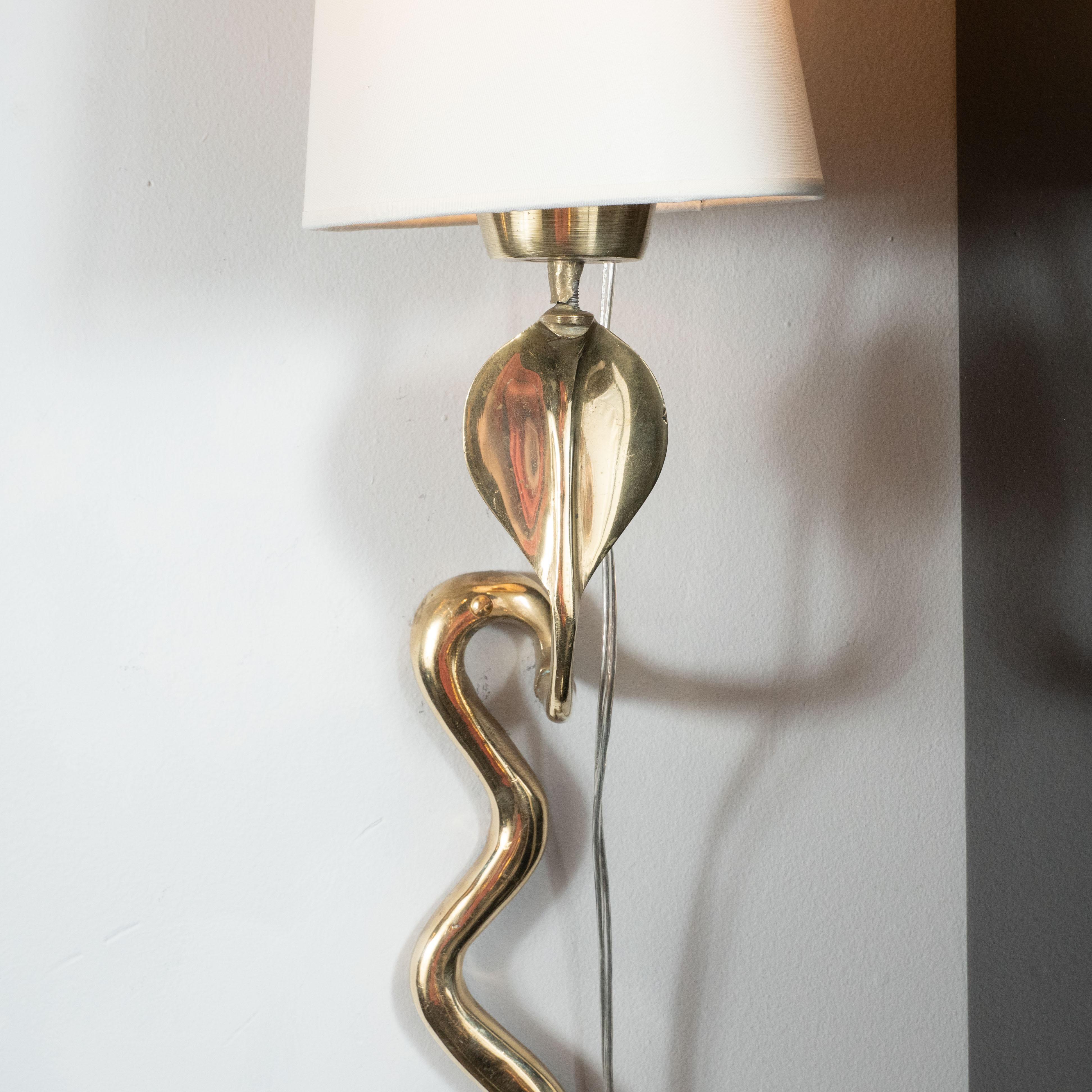 Pair of Mid-Century Modern Curvilinear Brass Cobra Snake ... on Mid Century Modern Sconces id=16482