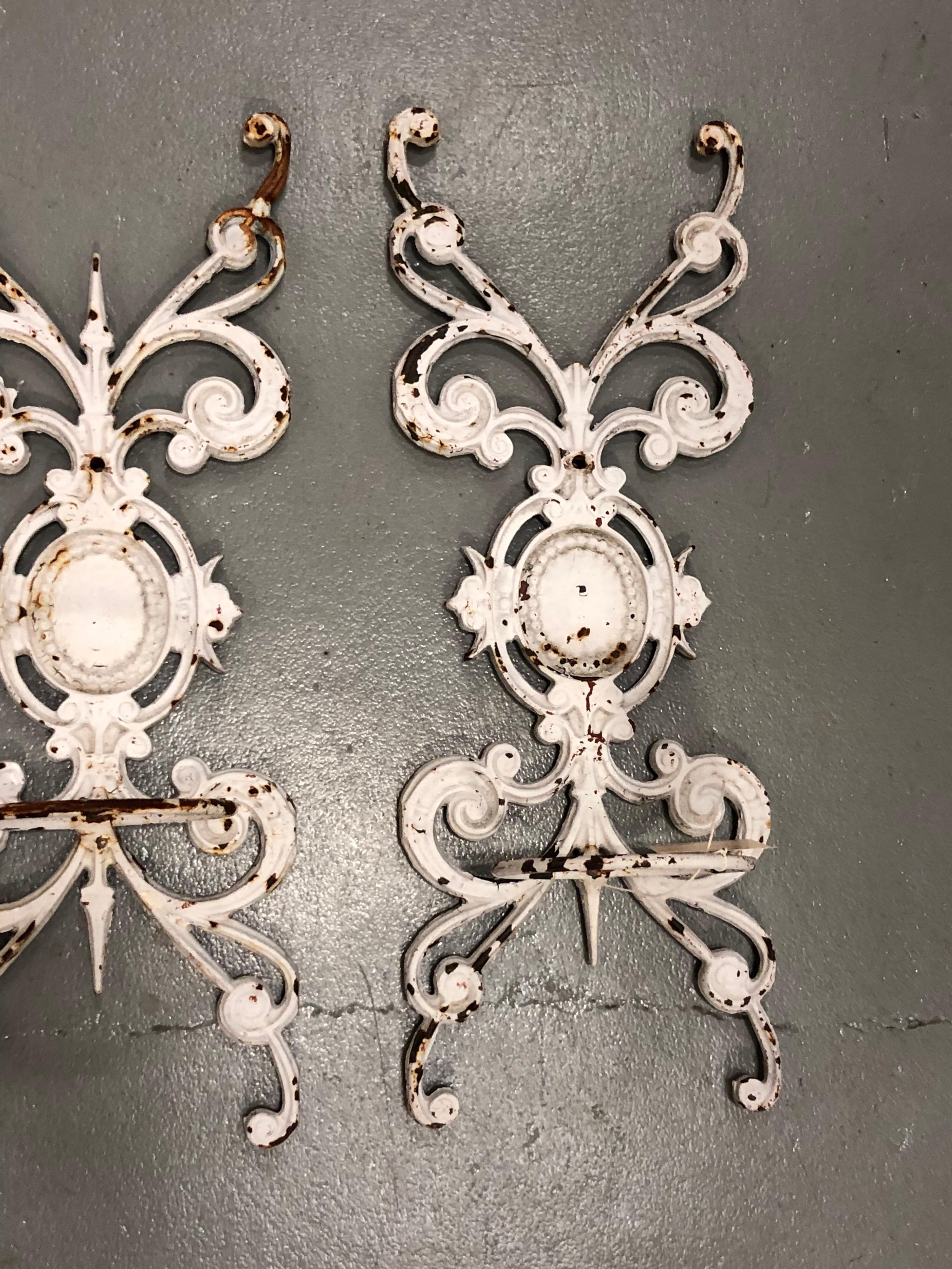 Pair of Neoclassical Iron Wall Planters at 1stdibs on Iron Wall Vases id=53631