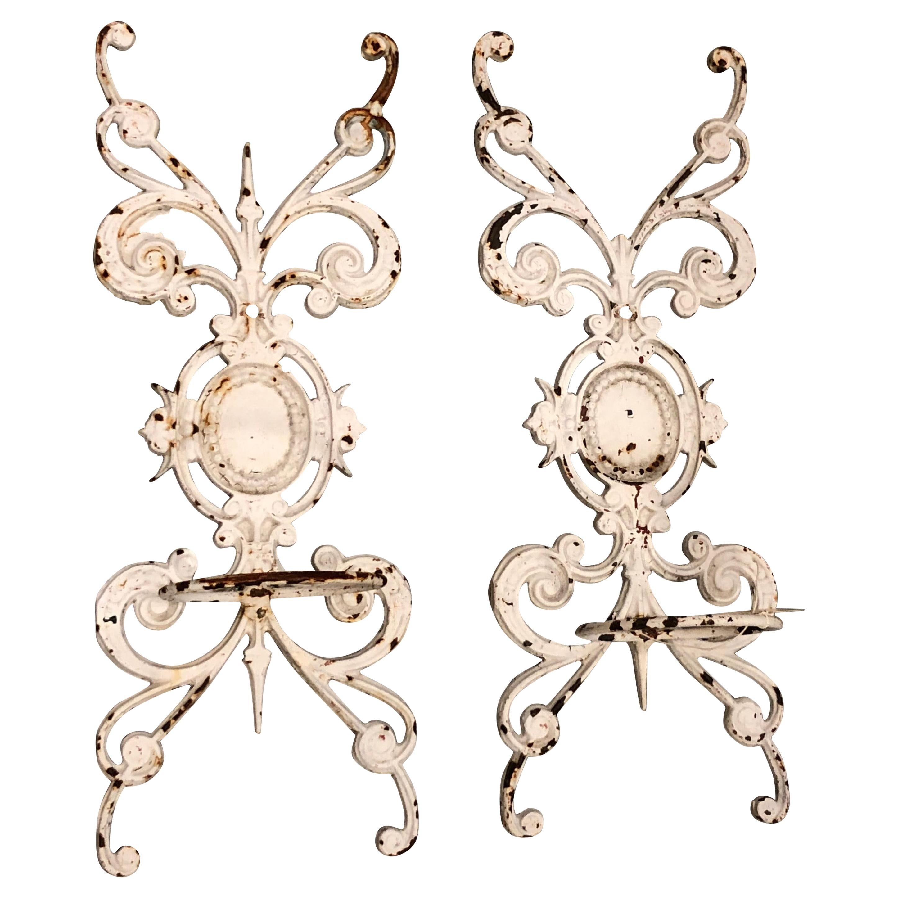 Pair of Neoclassical Iron Wall Planters at 1stdibs on Iron Wall Vases id=50430