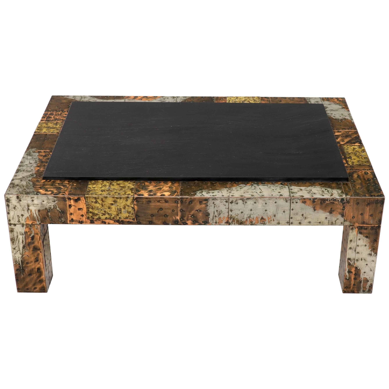 paul evans mid century modern rectangular coffee table with slate top