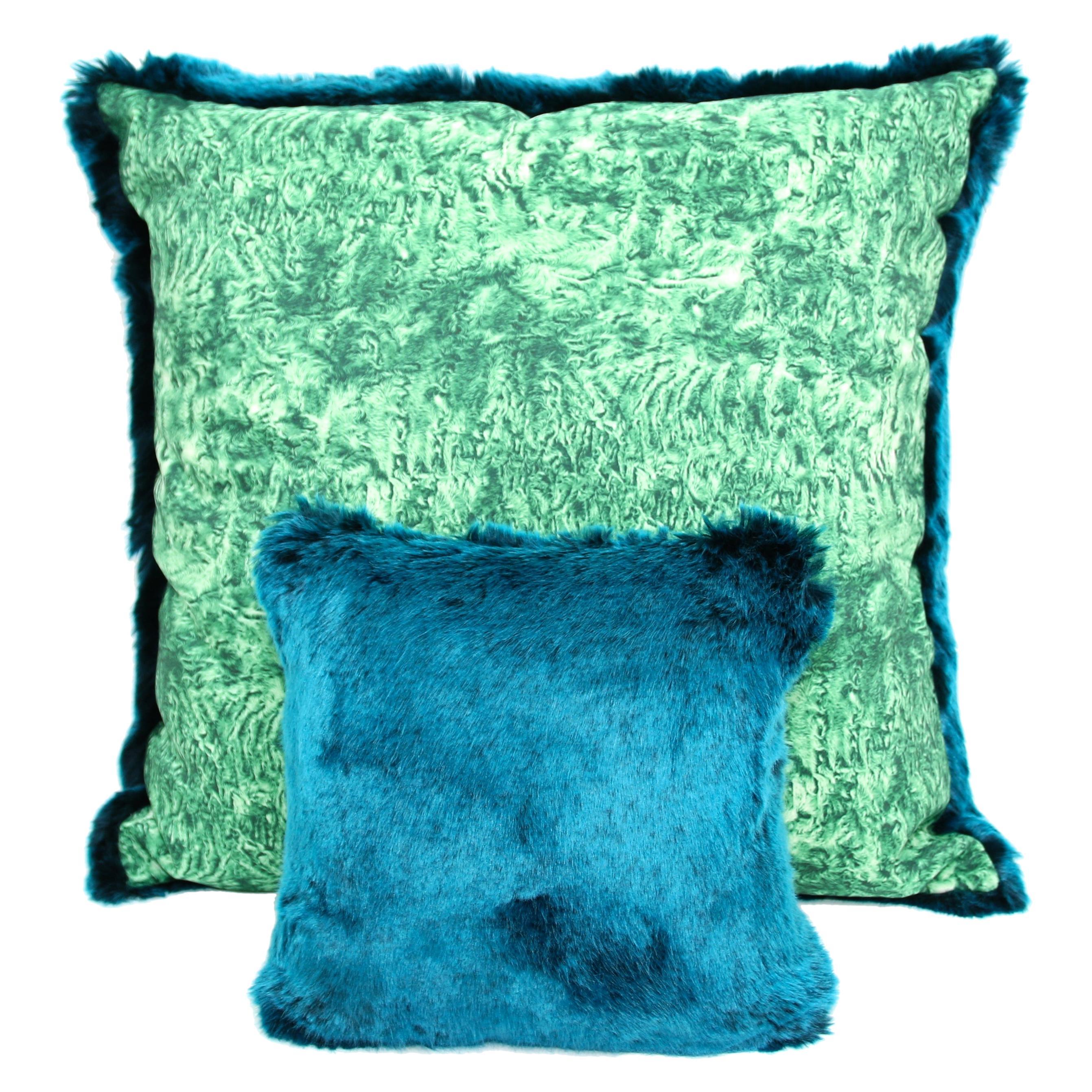 pelush teal chinchilla faux fur small throw pillows pillow set pair