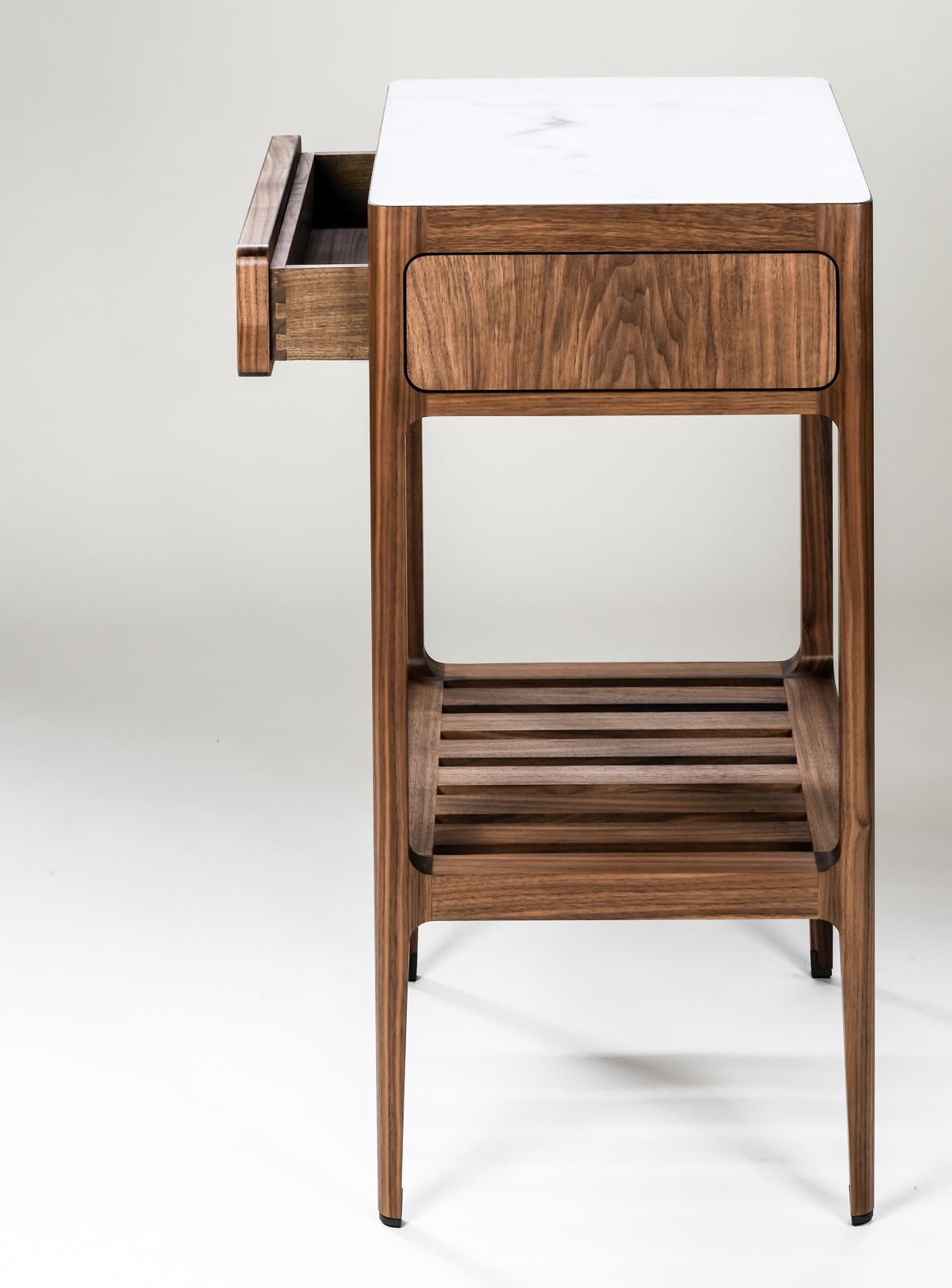 Customizable Single Drawer Side Table In Walnut By Munson Furniture For Sale At 1stdibs