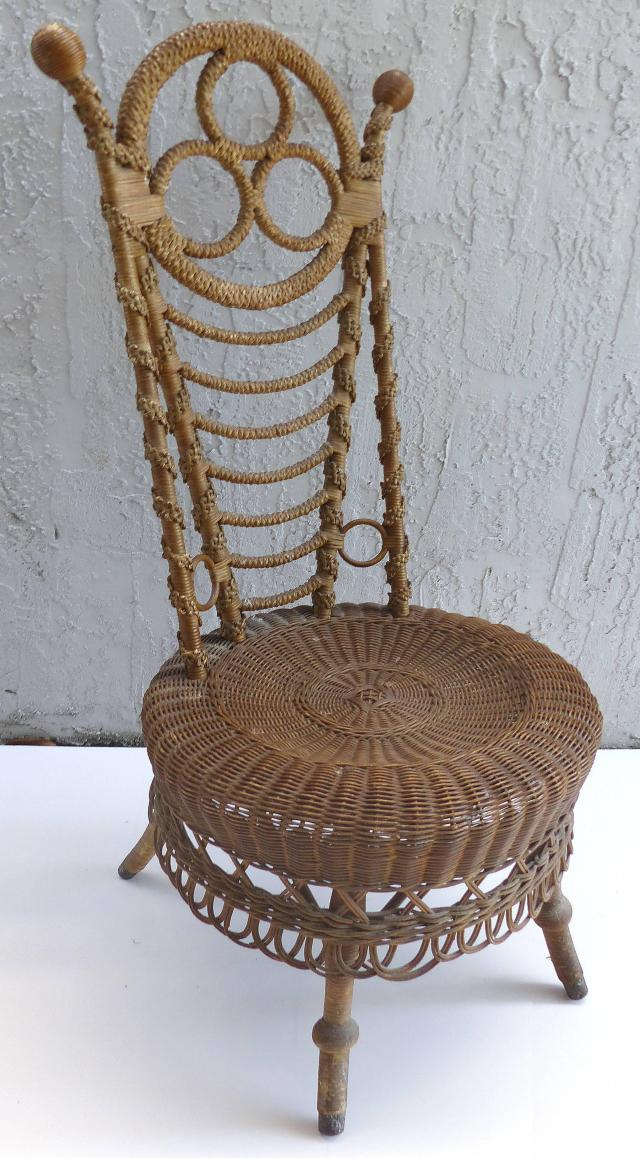 rare 19th century french victorian boudoir wicker chair for sale at