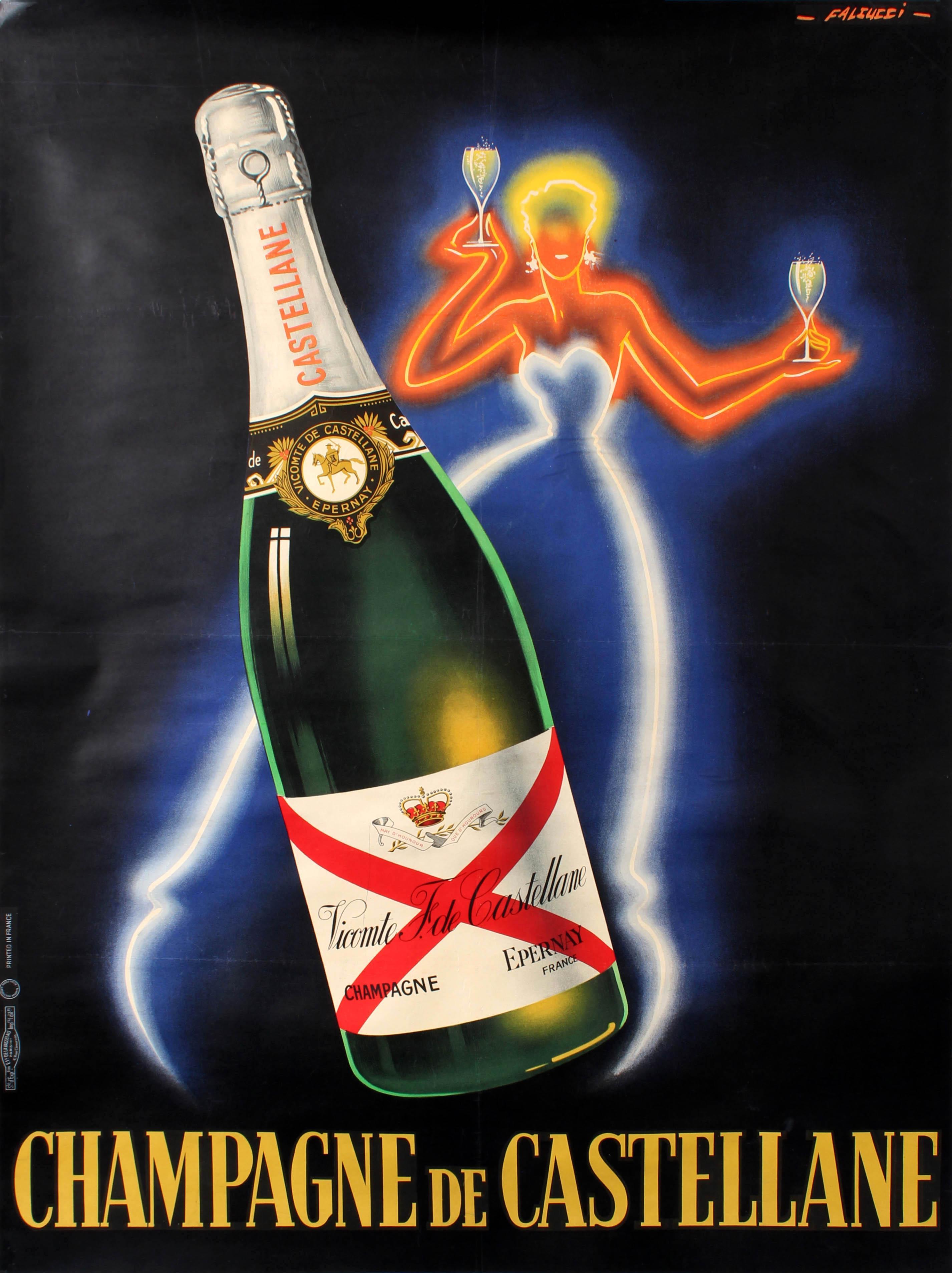 original vintage champagne de castellane poster by falcucci neon design drink ad