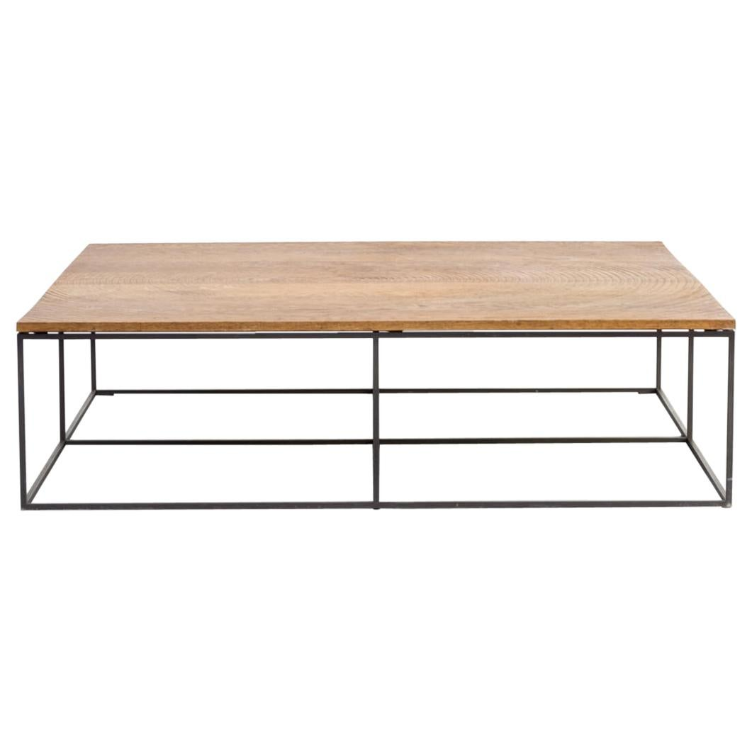 roderick vos log oak metal coffee table for linteloo