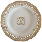 Royal Copenhagen Flora Danica Plate With Pierced Border And Monogram For Sale At 1stdibs