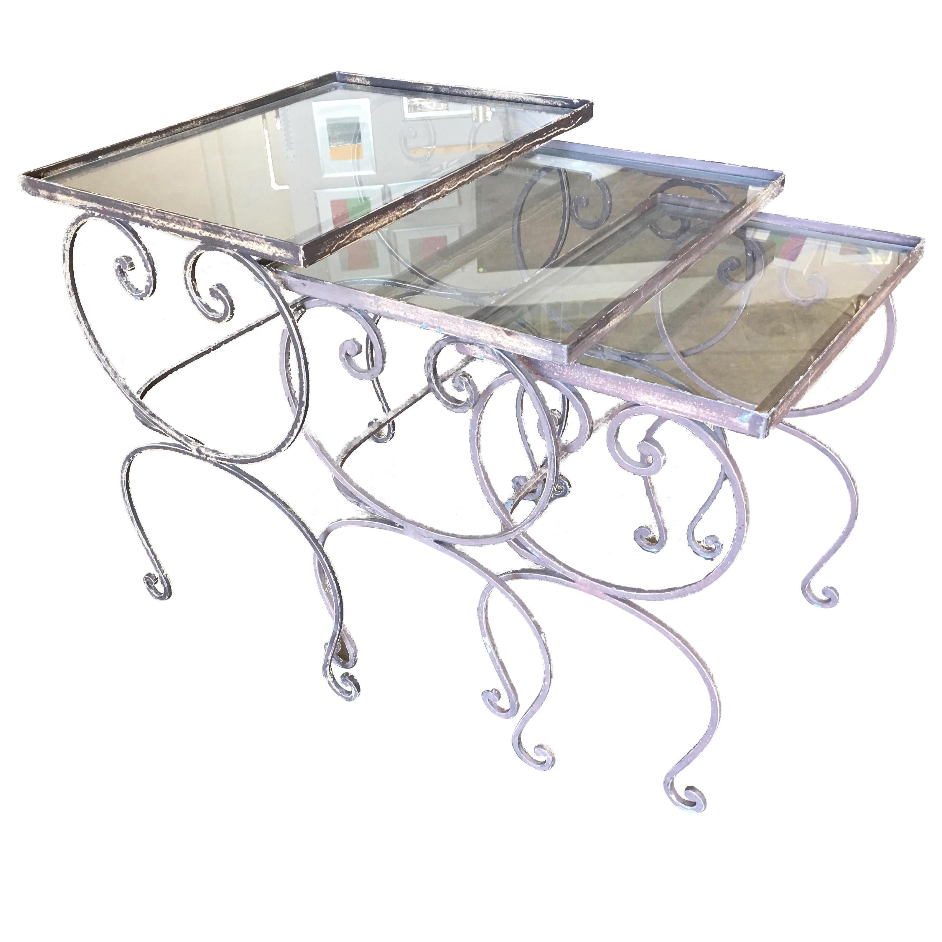 scrolling steel outdoor patio nesting side tables with glass tops set of 3