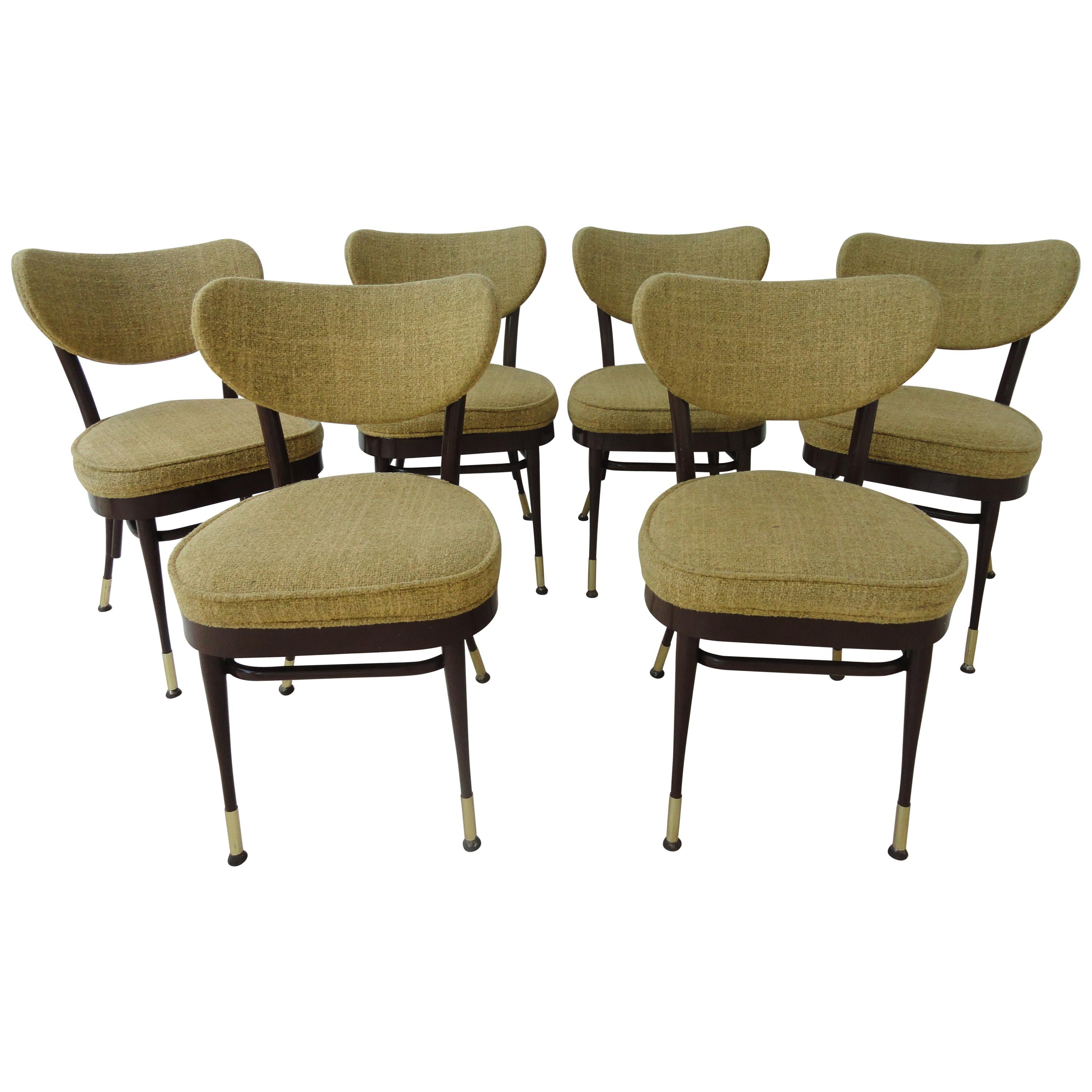 Set Of 6 Midcentury Metal Side Dining Chairs