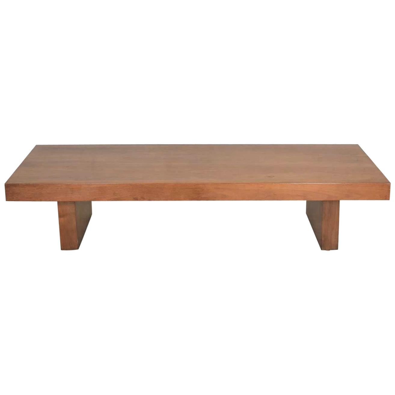 show pieces mid century modern asian low coffee teahouse table bench in walnut