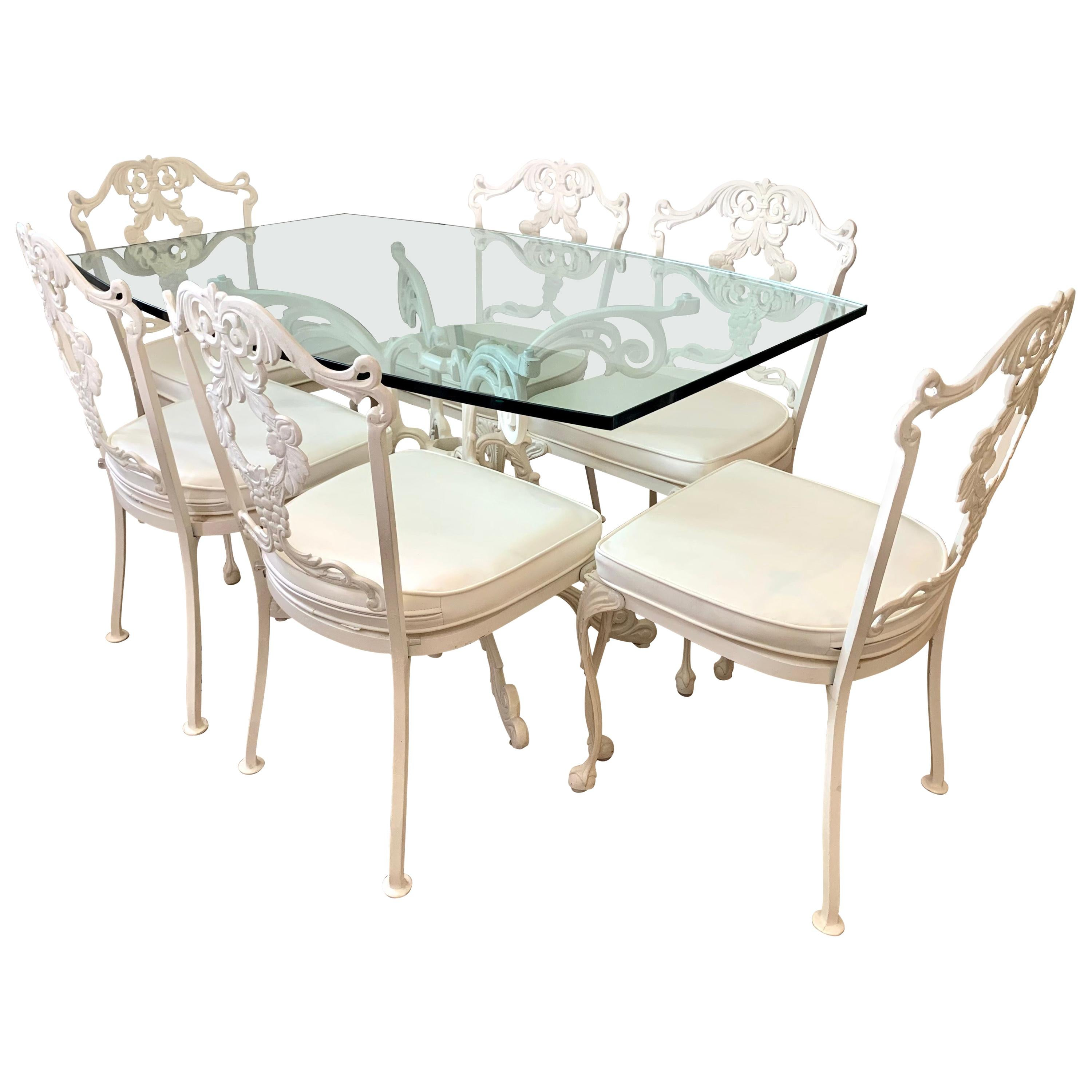 signed molla white cast aluminum 7 pc patio dining set table and 6 chairs