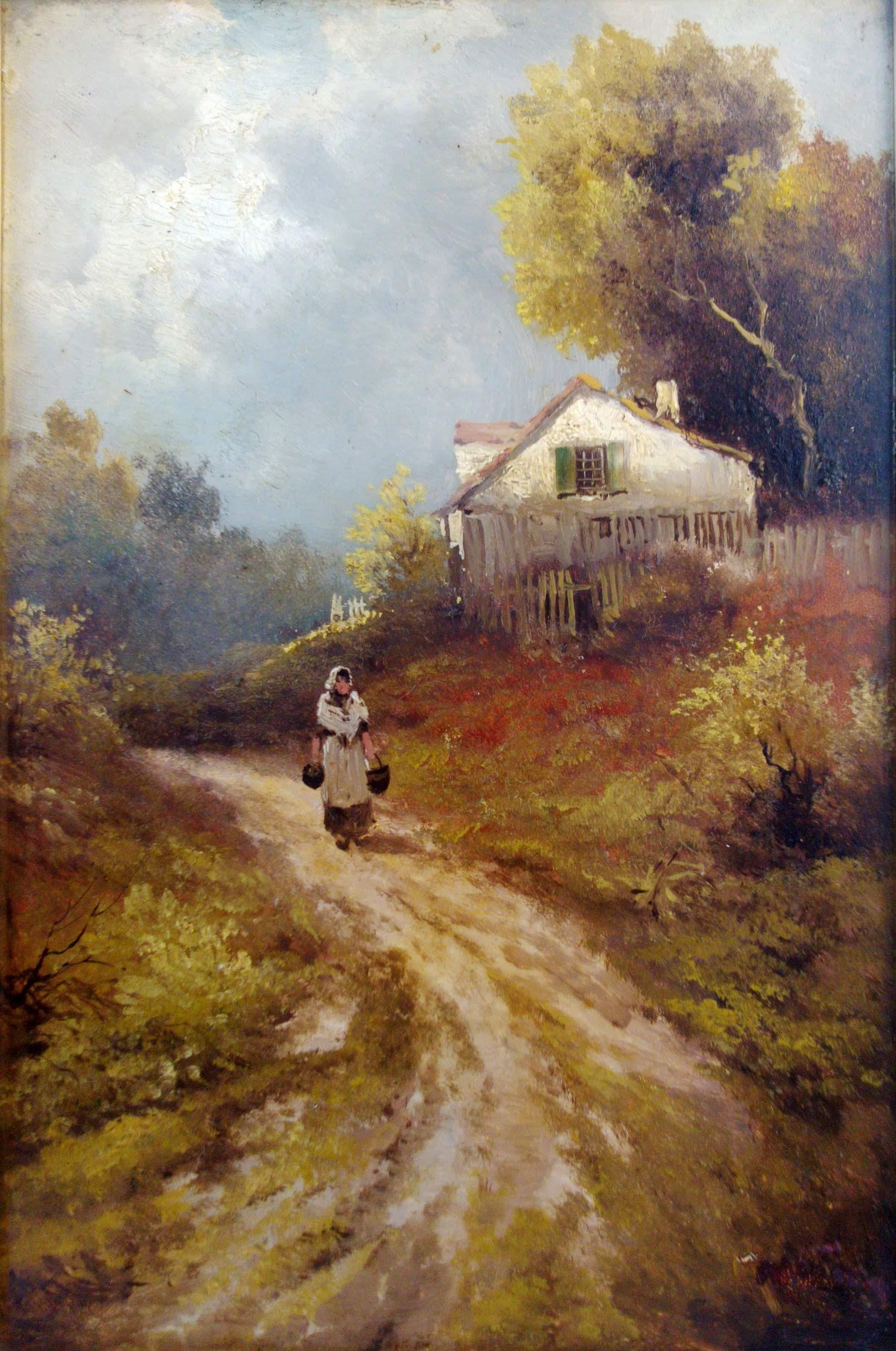 unknown barbizon country manner of galiany on Rustic Country Paintings id=22535