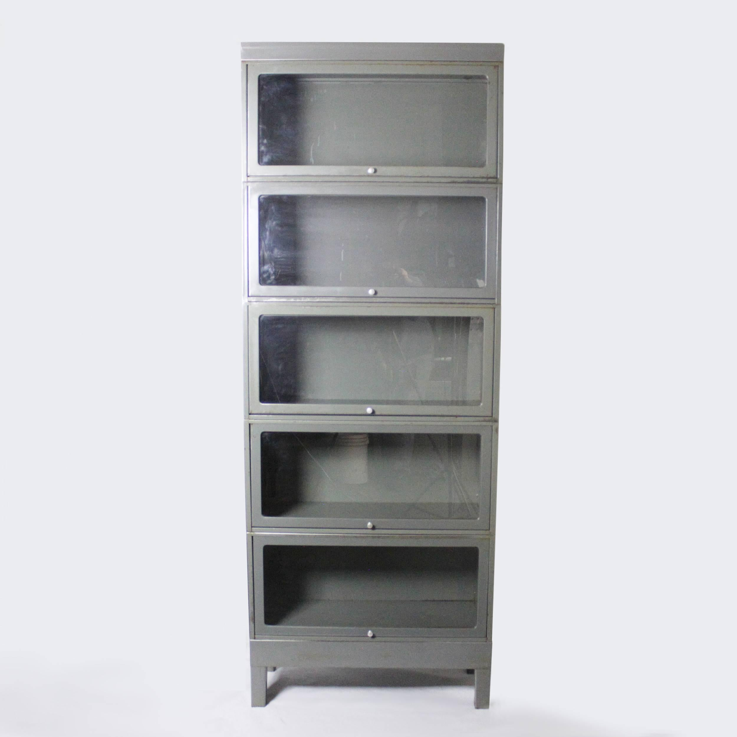 Vintage 1960s Industrial Five Stack Gray Steel Metal Barrister Bookcase