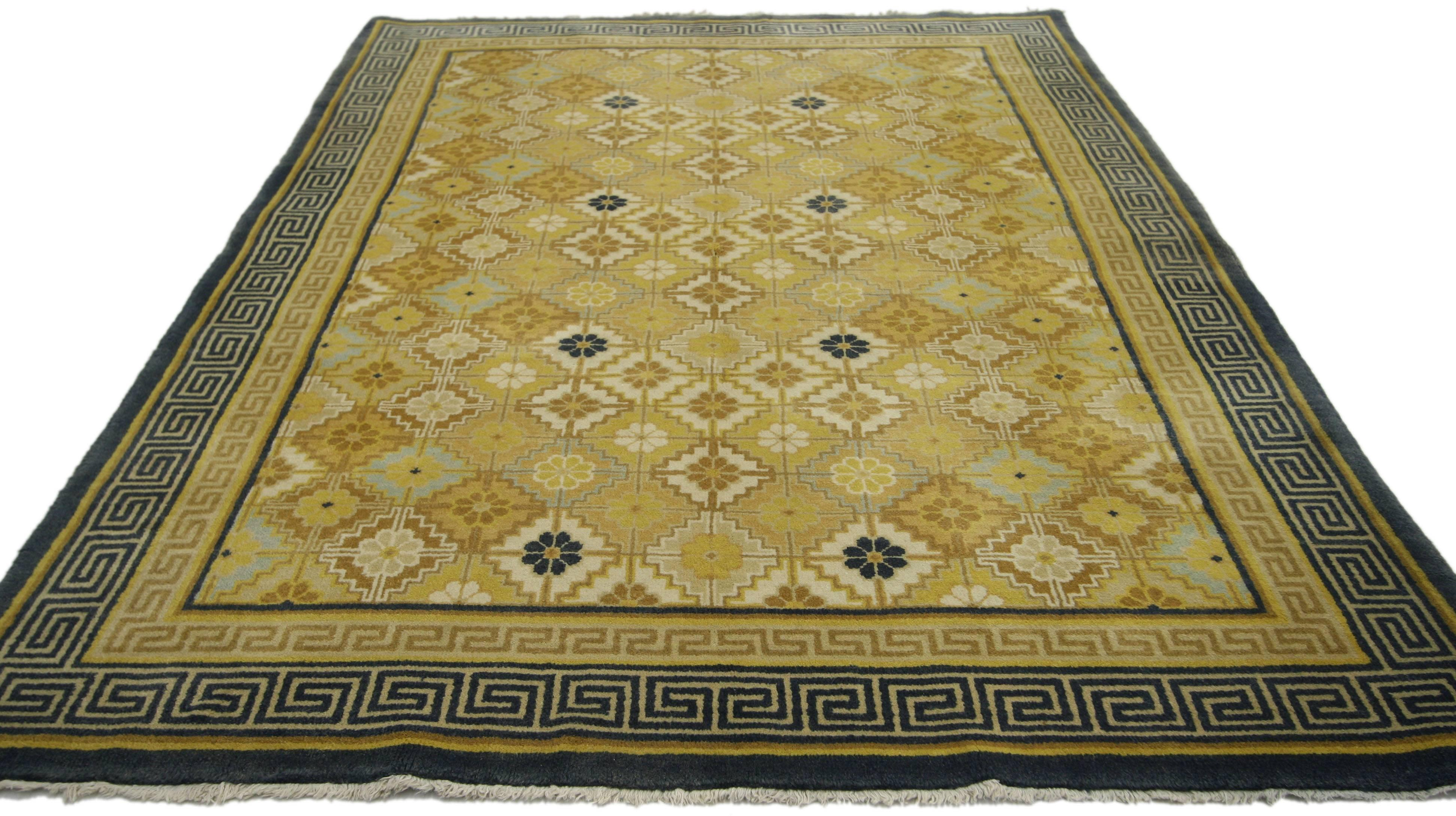 Vintage Chinese Rug With Modern Style With Double Greek Key Border For Sale At 1stdibs