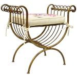 Vintage Italian Hollywood Regency Iron Gold Gilt Curule Vanity Bench Seat Chair At 1stdibs