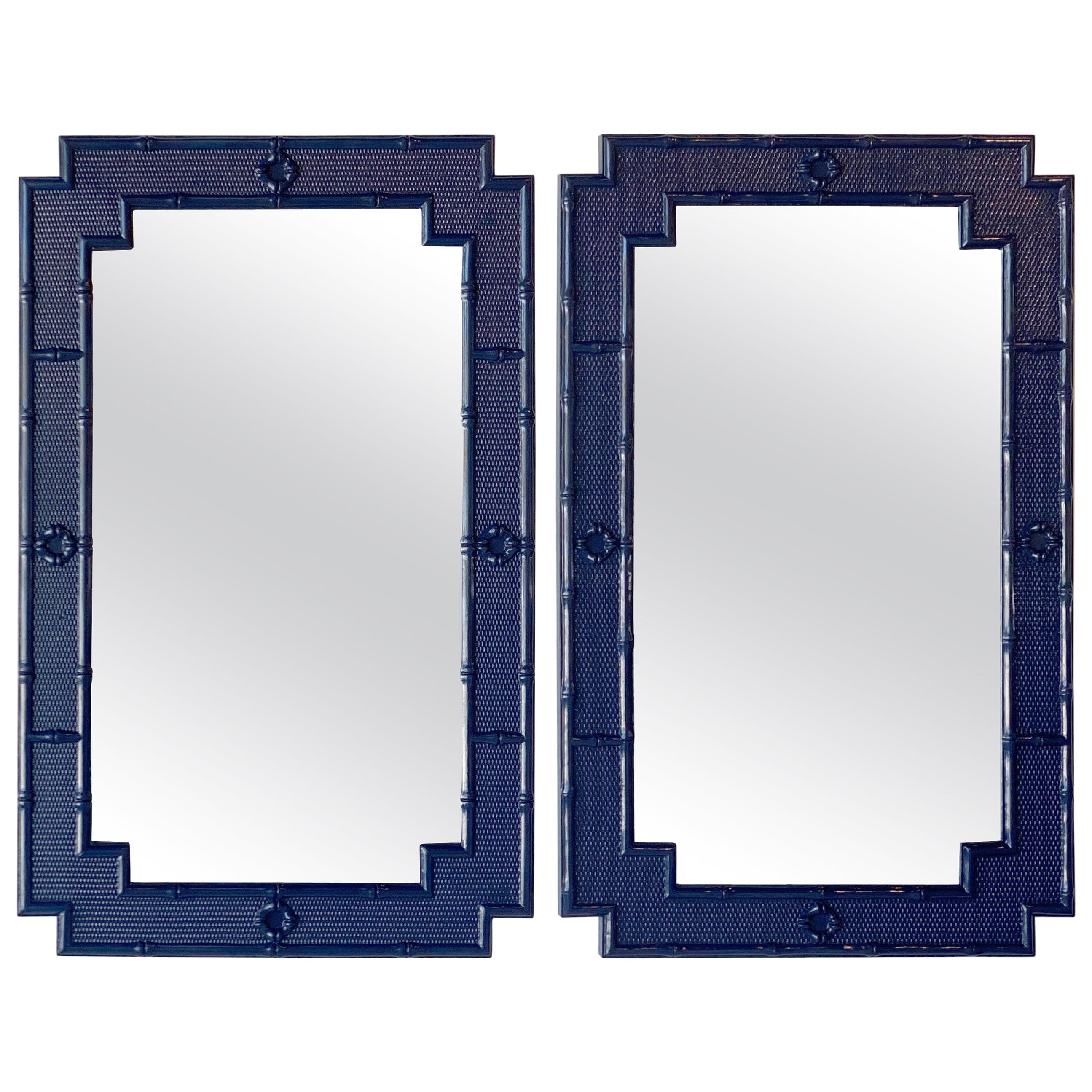vintage pair of palm beach faux bamboo navy blue lacquered wall mirrors