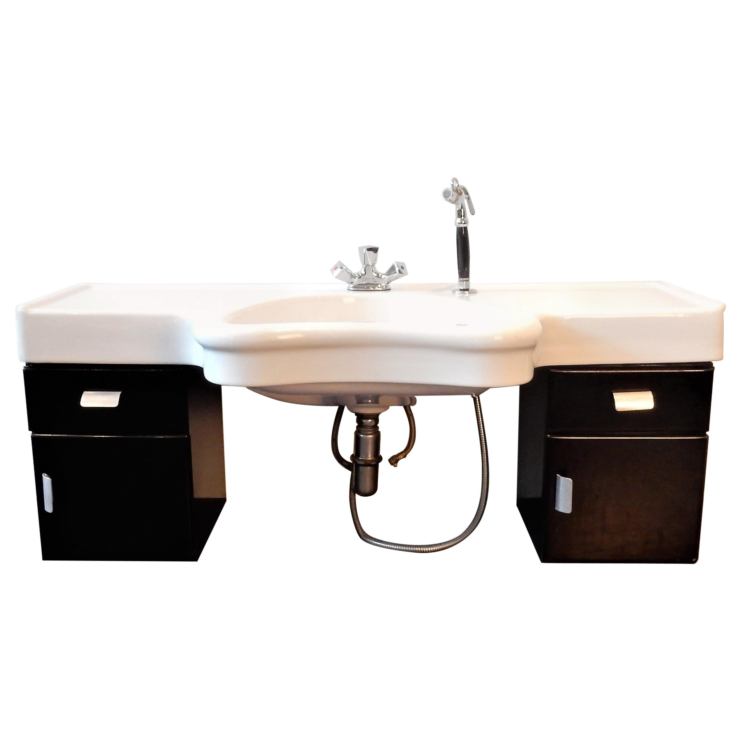 vintage wall mounted hairdressers wash basin with cabinet by olymp germany 1950