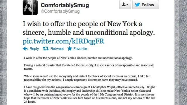 Twitter ComfortablySmug apology
