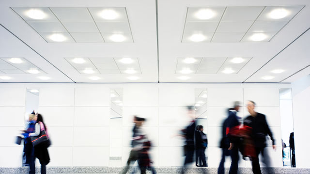 PHOTO:Lights in a walkway.