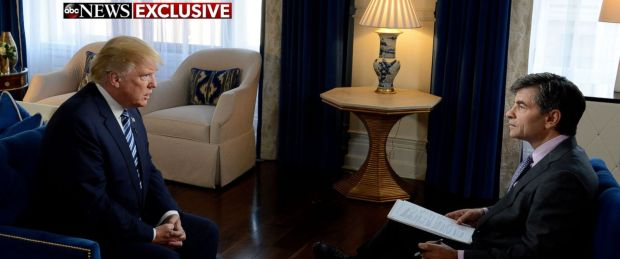 PHOTO: Donald Trump speaks to ABC News George Stephanopoulos in an exclusive interview, Oct. 26, 2016.
