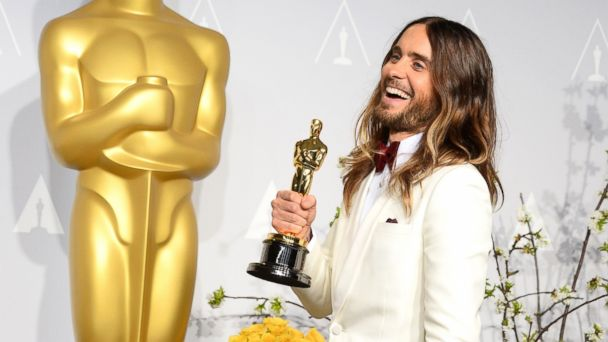 "PHOTO: Jared Leto poses in the press room with the award for best actor in a supporting role for ""Dallas Buyers Club"" during the Oscars at the Dolby Theatre in Los Angeles, March 2, 2014."