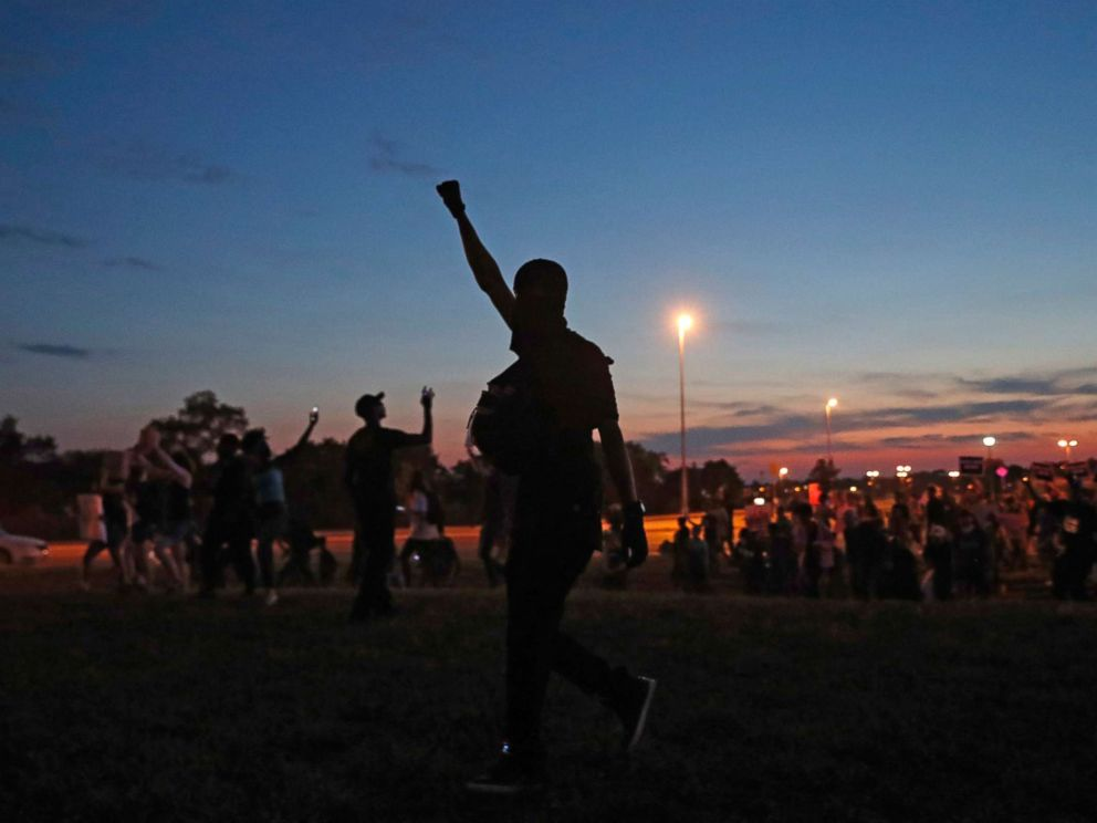 PHOTO: Protesters march in St. Louis, after a judge found a white former St. Louis police officer, Jason Stockley, not guilty of first-degree murder in the death of a black man, Anthony Lamar Smith, Sept. 15, 2017.
