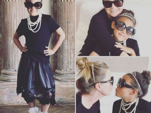 PHOTO: Ellen Pompeo with daughter Stella dressed as Holly Golightly from Breakfast at Tiffanys.