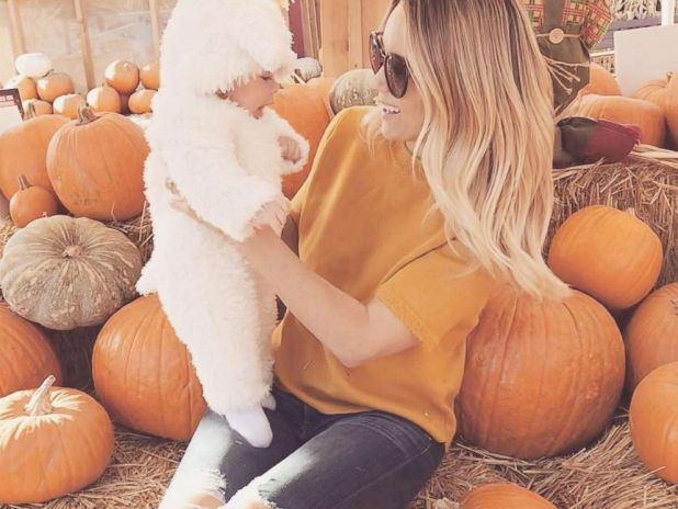 PHOTO: Lauren Conrad at a pumpkin patch with her son Liam Tell dressed as a lamb.