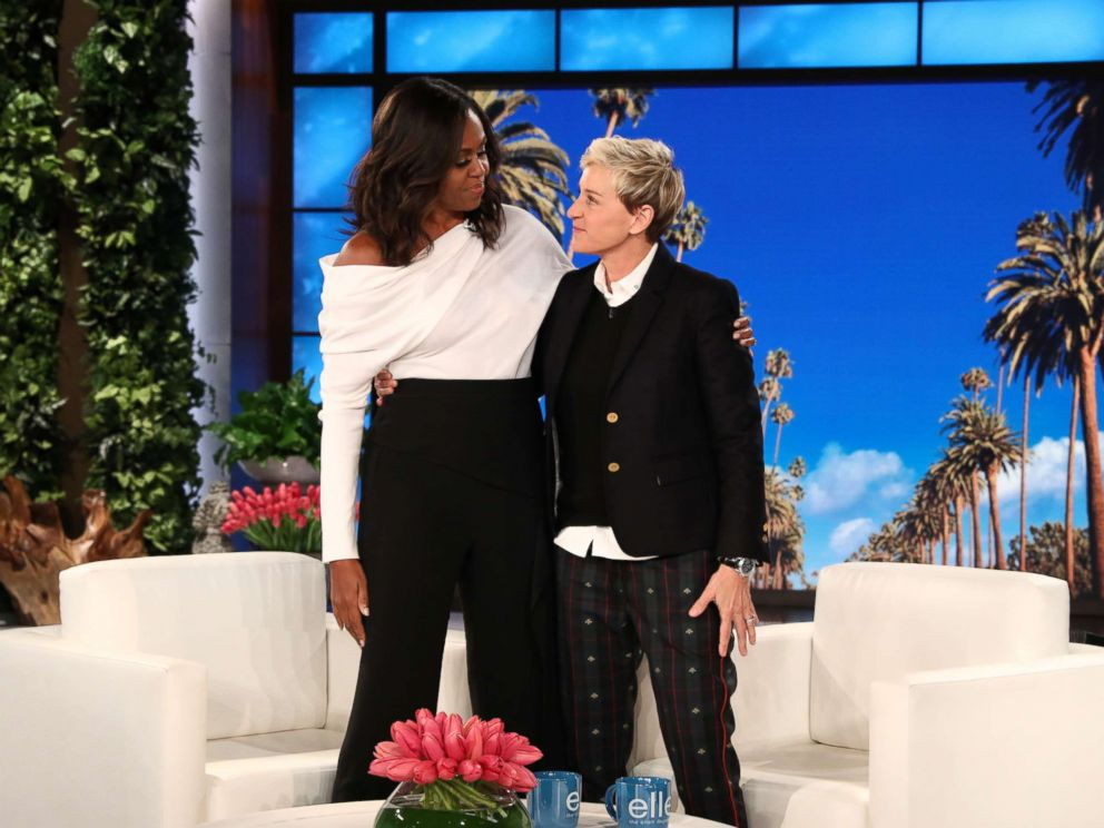 PHOTO: Michelle Obama appears on The Ellen DeGeneres Show at the Warner Bros. lot in Burbank, Calif.