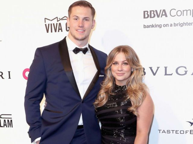 PHOTO: Olympic Gymnast Shawn Johnson (R) and Andrew East attend the 25th Annual Elton John AIDS Foundations Academy Awards Viewing Party at The City of West Hollywood Park, Feb. 26, 2017 in West Hollywood, Calif.