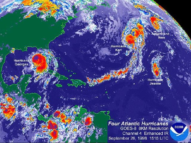 PHOTO: Four hurricanes were in the Atlantic at the same time in 1998, including Georges, a Category 4 storm that killed more than 600 people in the Dominican Republic and Haiti and caused $2.8 billion in damage in the U.S., the Weather Channel reported.