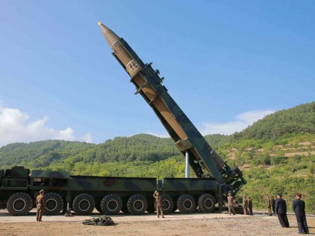 PHOTO: North Korean leader Kim Jong Un, second from right, inspects the preparation of the launch of a Hwasong-14 intercontinental ballistic missile, ICBM, in North Korea, July 4, 2017.