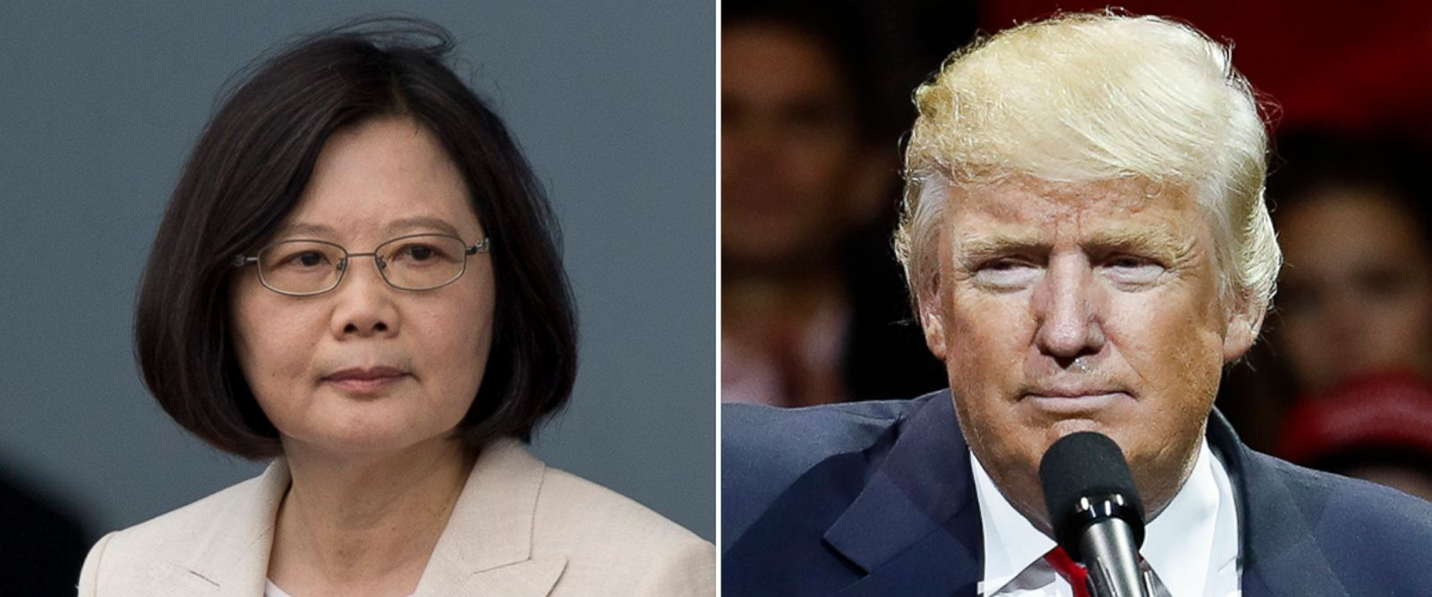 PHOTO: Taiwan President Tsai Ying-wen in Taipei, Taiwan, May 20, 2016; President-elect Donald Trump in Cincinnati, Dec. 1, 2016.