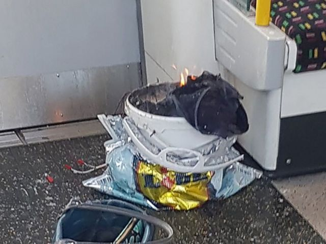 PHOTO: A white container burns inside a London Underground tube carriage at Parsons Green underground tube station, Sept. 15, 2017.