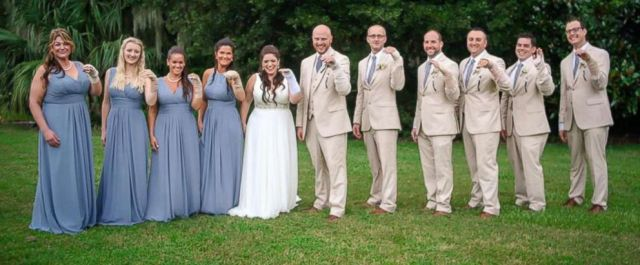 PHOTO: Jaclyn Summers bridal party surprised her by wearing bandages at her Aug. 31 wedding after the bride broke her wrist a week before.