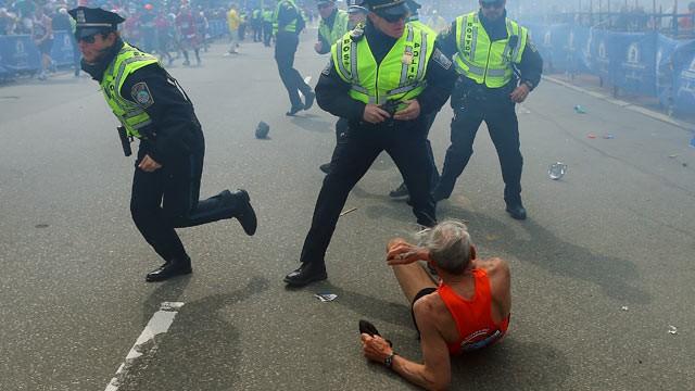 PHOTO: The scene near the finish line of the 117th Boston Marathon, April 15, 2013.