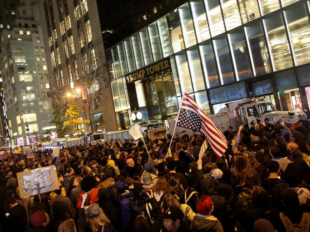 Image result for images of Protests in front of Trump Tower on Nov. 9, 2016