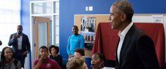 Image result for Obama makes surprise visit to Washington D.C. High School