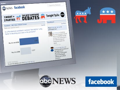 Facebook has partnered with ABC News and its New Hampshire affiliate WMUR to present a pair of historic debates with six Republicans and four Democrats on one night. (ABC News Photo Illustration)