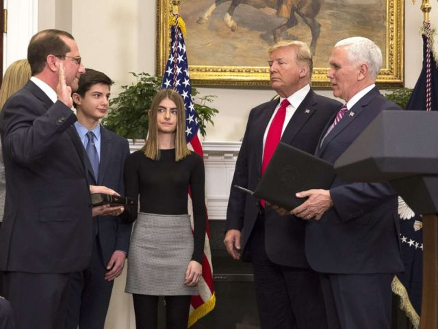 PHOTO: Vice President Mike Pence swears in Alex Azar as the new Secretary of the Department of Health and Human Services with President Donald J. Trump, Jan. 29, 2018 at The White House in Washington, DC.