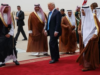 PHOTO: President Donald Trump began his first foreign trip with a stop in Saudi Arabia, a long-time ally in the Arab world, welcomed by King Salmon in Riyadh, May 20, 2017.