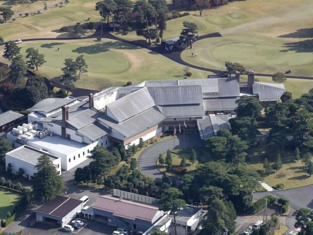 PHOTO: Photo taken Nov. 2, 2017, from a Kyodo News helicopter shows the clubhouse of Kasumigaseki Country Club in Kawagoe, Saitama Prefecture, where Donald Trump is scheduled to play golf with Shinzo Abe and PGA Tour player Hideki Matsuyama on Nov. 5.