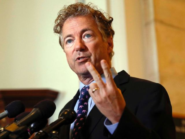 PHOTO: Sen. Rand Paul speaks during a news conference on Capitol Hill in Washington, D.C., Sept. 25, 2017.