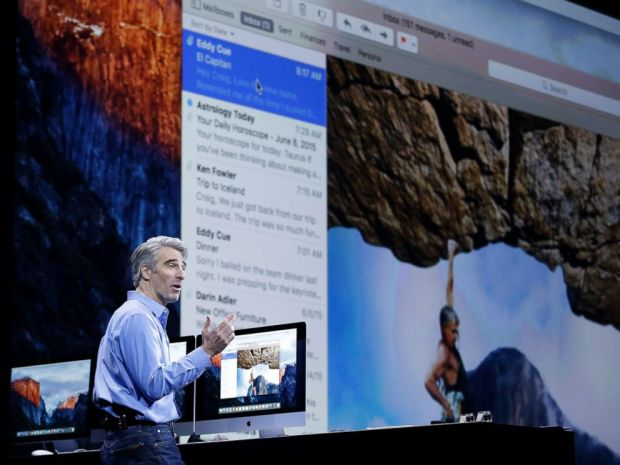 PHOTO: Craig Federighi, Apple senior vice president of Software Engineering, talks about the El Capitan operating system at the Apple Worldwide Developers Conference in San Francisco, June 8, 2015.